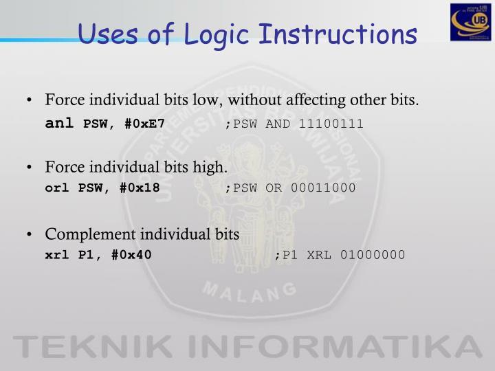 Uses of Logic Instructions