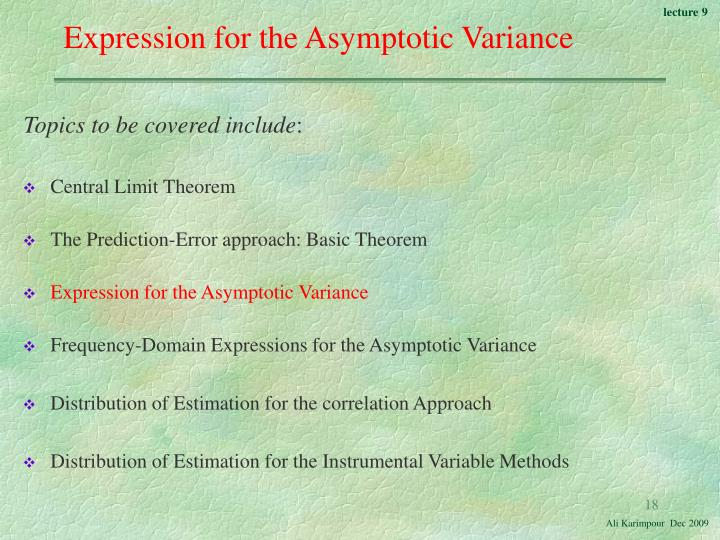 Expression for the Asymptotic Variance