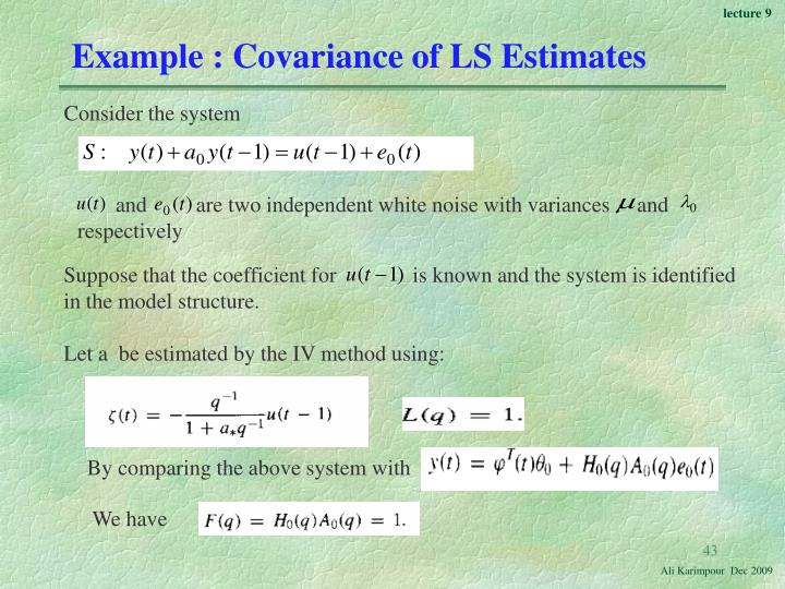 Example : Covariance of LS Estimates