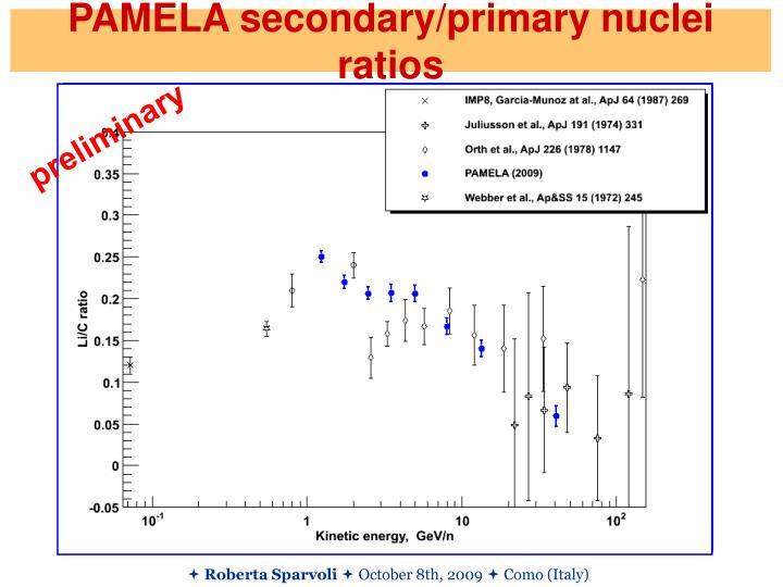 PAMELA secondary/primary nuclei ratios