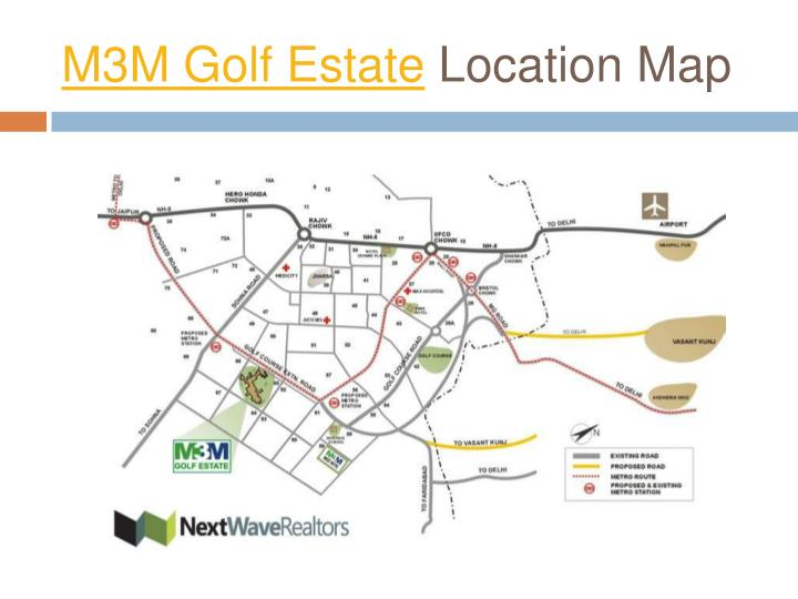 M3m golf estate location map