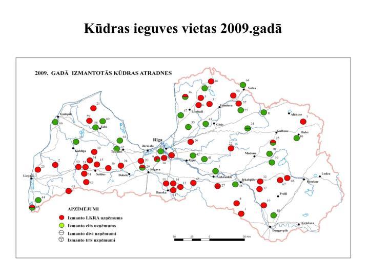 Kūdras ieguves vietas 2009.gadā