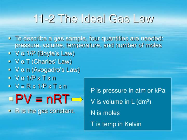 11-2 The Ideal Gas Law