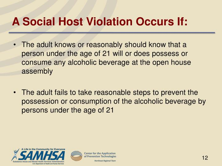 A Social Host Violation Occurs If: