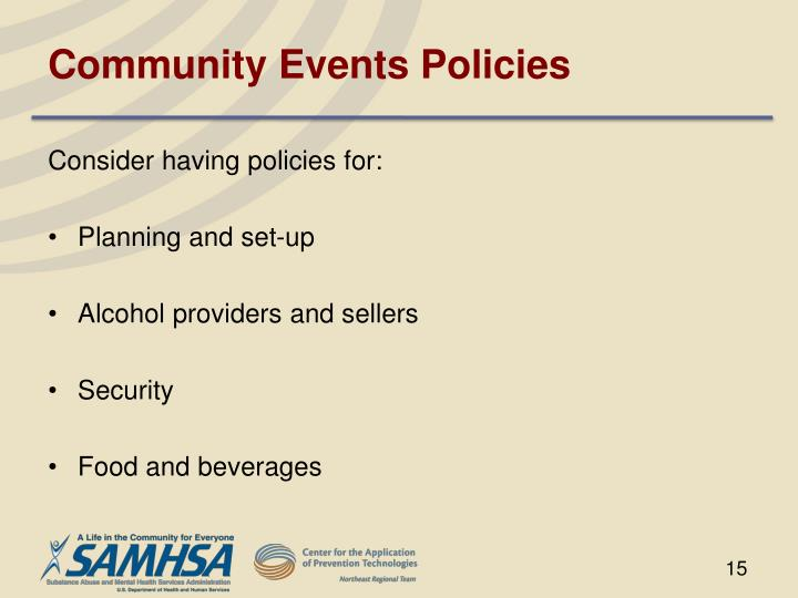 Community Events Policies