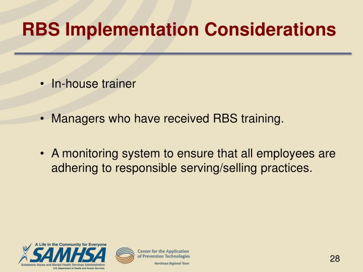 RBS Implementation Considerations