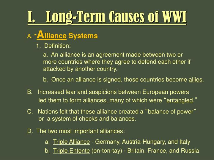causes of world war i mla The first world war had many causes the historians probably have not yet discovered and discussed all of them so there might be more causes than what we know now the spark of the great war was the assassination of the archduke francis ferdinand, heir to the throne of austria-hungary, and his.