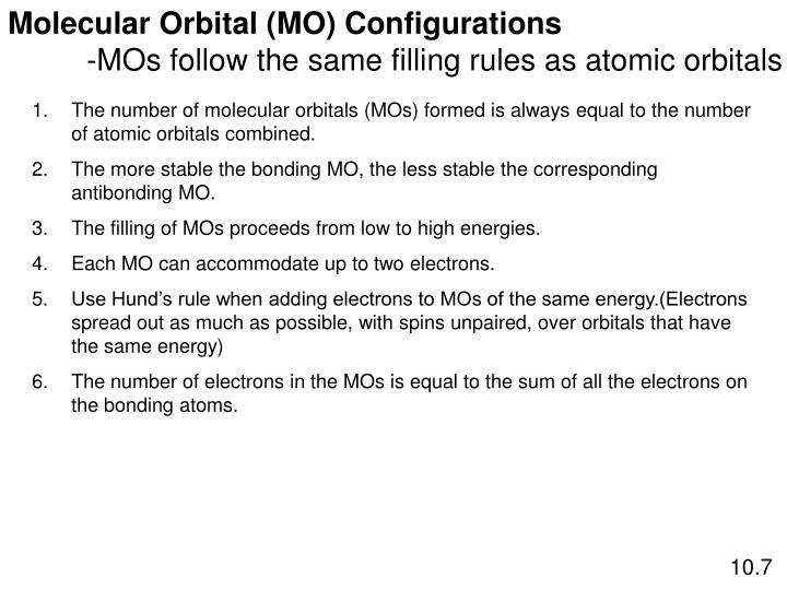 Molecular Orbital (MO) Configurations