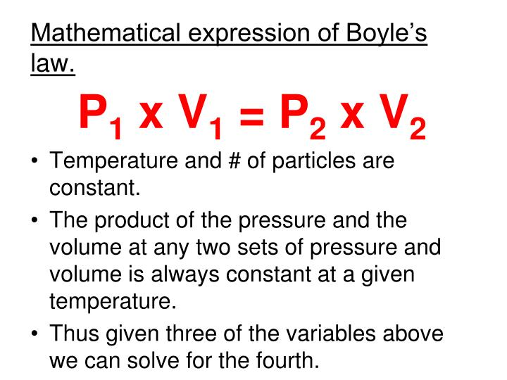 Mathematical expression of Boyle's law.