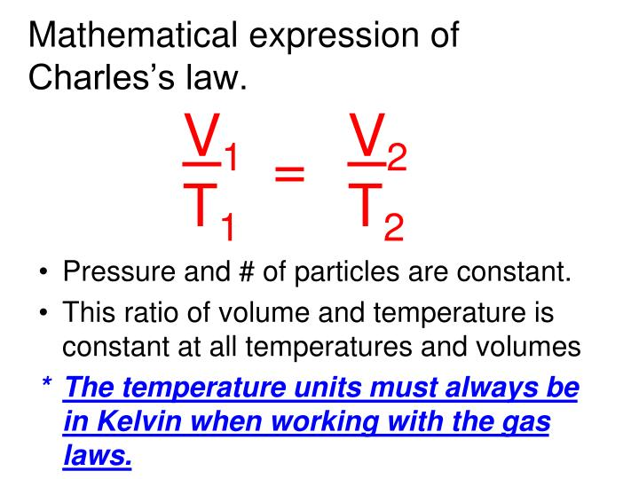 Mathematical expression of Charles's law.