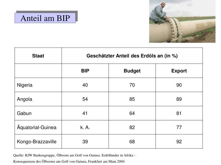 Anteil am BIP