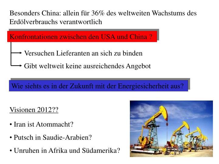 Besonders China: allein für 36% des weltweiten Wachstums des Erdölverbrauchs verantwortlich