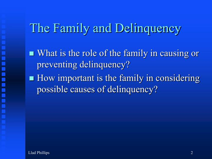 how does family affect delinquency 1) kevin n wright and karen e wright, family life and delinquency and crime: a policymaker's guide to the literature, prepared under interagency agreement between the office of juvenile justice and delinquency prevention and the bureau of justice assistance of the us department of justice, 1992.