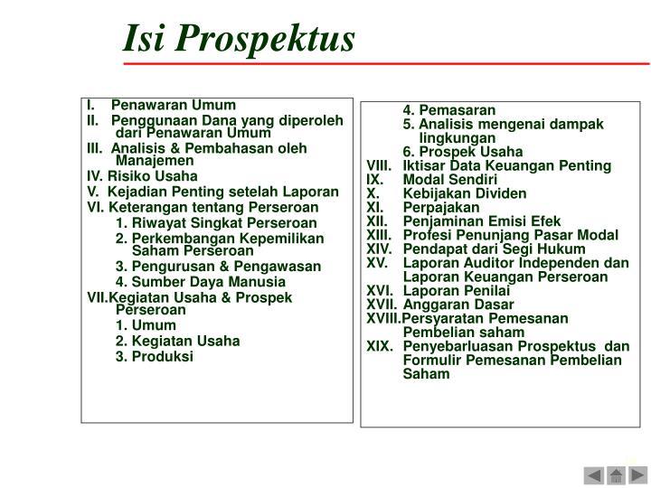 Isi Prospektus