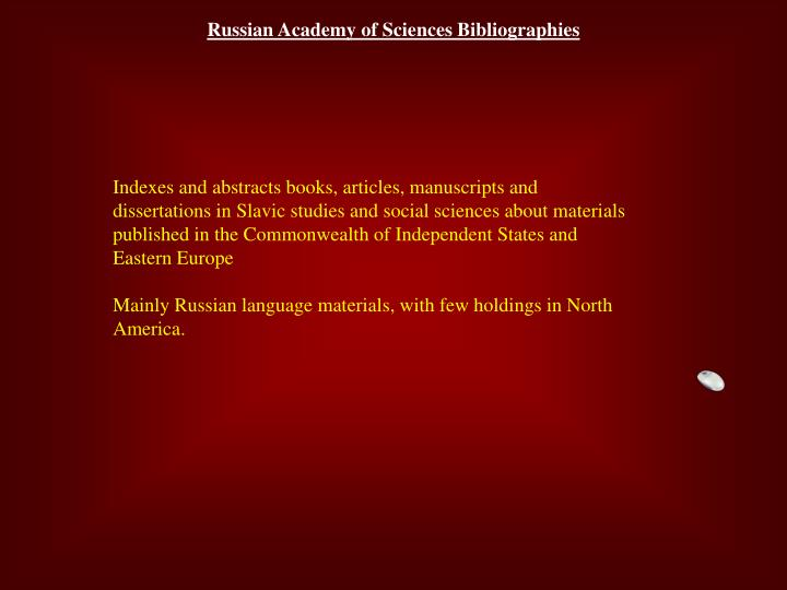 Russian Academy of Sciences Bibliographies