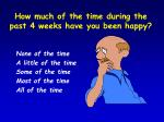 how much of the time during the past 4 weeks have you been happy