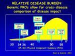 relative disease burden generic pros allow for cross disease comparison of disease impact