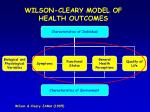 wilson cleary model of health outcomes