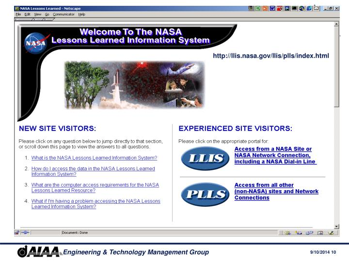 http://llis.nasa.gov/llis/plls/index.html