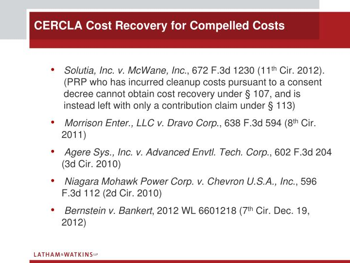 Cercla cost recovery for compelled costs