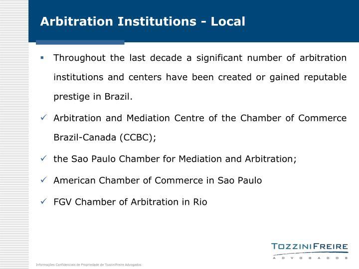 Arbitration Institutions - Local