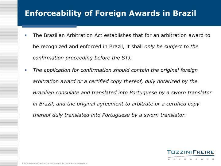 Enforceability of Foreign Awards in Brazil