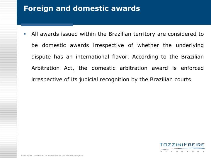 Foreign and domestic awards