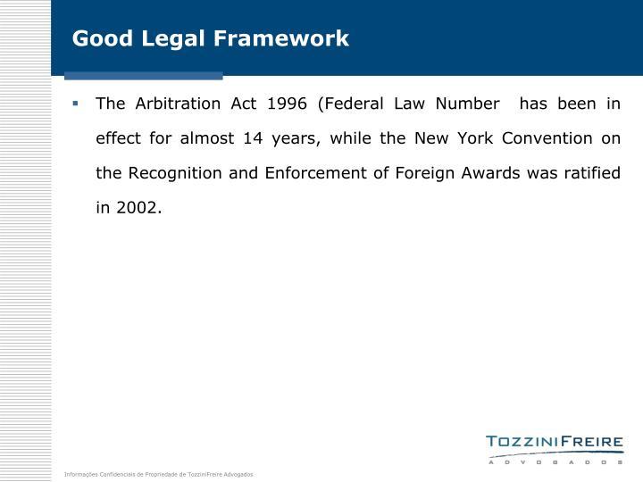 Good Legal Framework