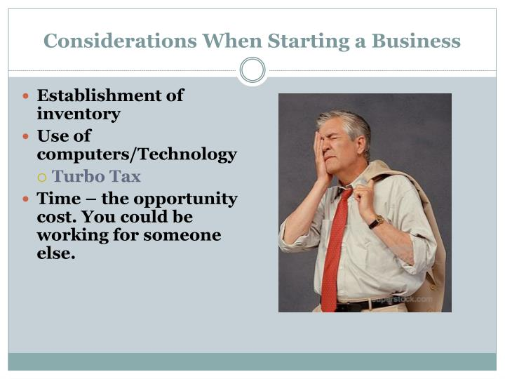 Considerations when starting a business