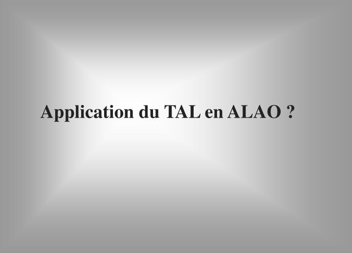 Application du TAL en ALAO ?