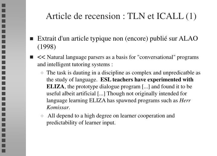 Article de recension : TLN et ICALL (1)