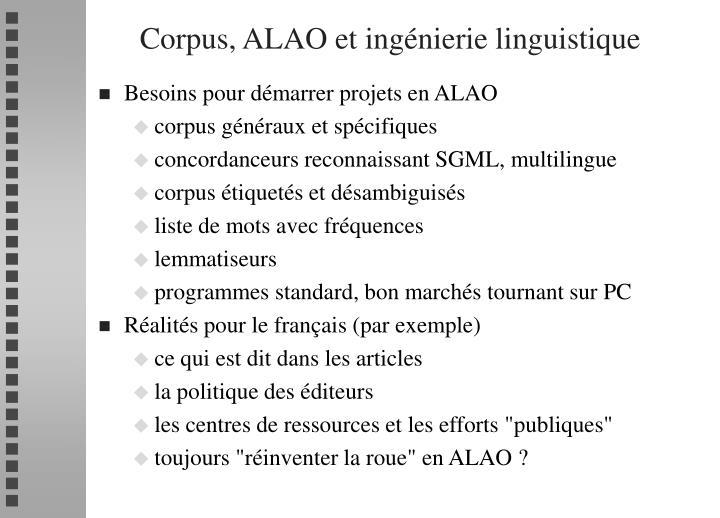 Corpus, ALAO et ingénierie linguistique