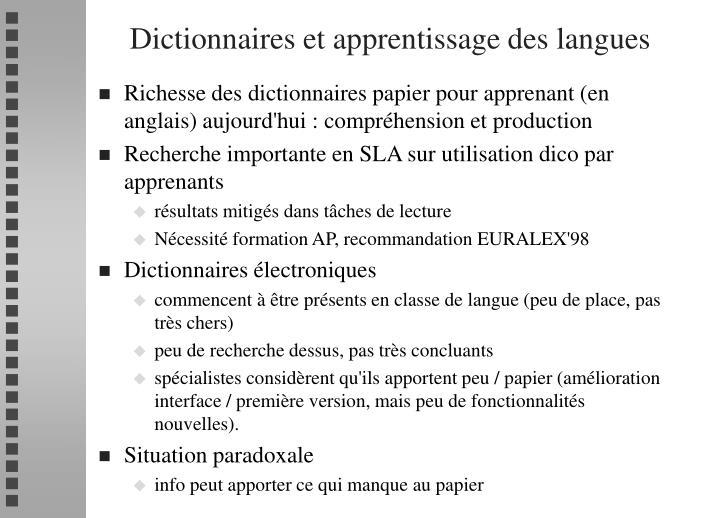 Dictionnaires et apprentissage des langues