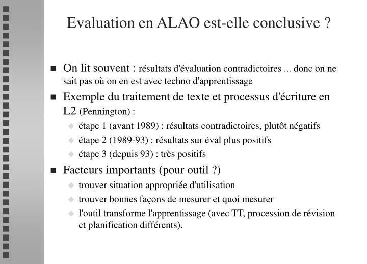 Evaluation en ALAO est-elle conclusive ?