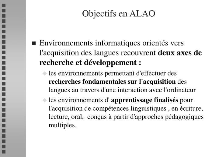 Objectifs en ALAO
