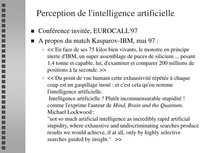 Perception de l'intelligence artificielle