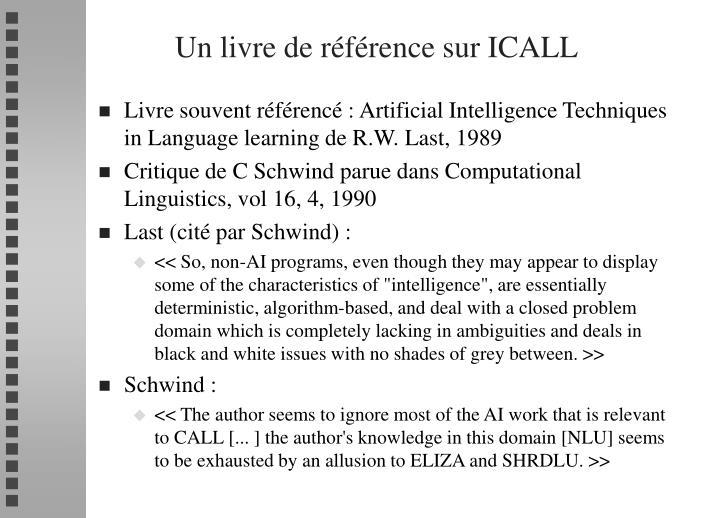 Un livre de référence sur ICALL
