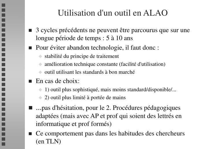 Utilisation d'un outil en ALAO