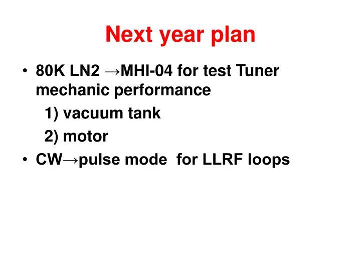 Next year plan