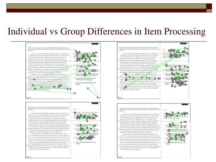 Individual vs Group Differences in Item Processing