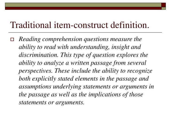 Traditional item-construct definition.