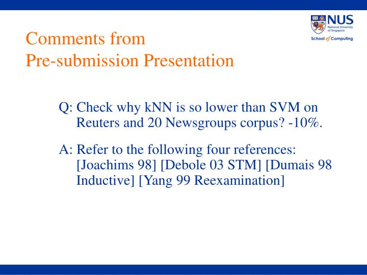comments from pre submission presentation n.