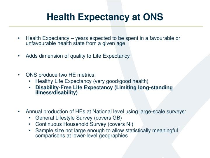 Health expectancy at ons