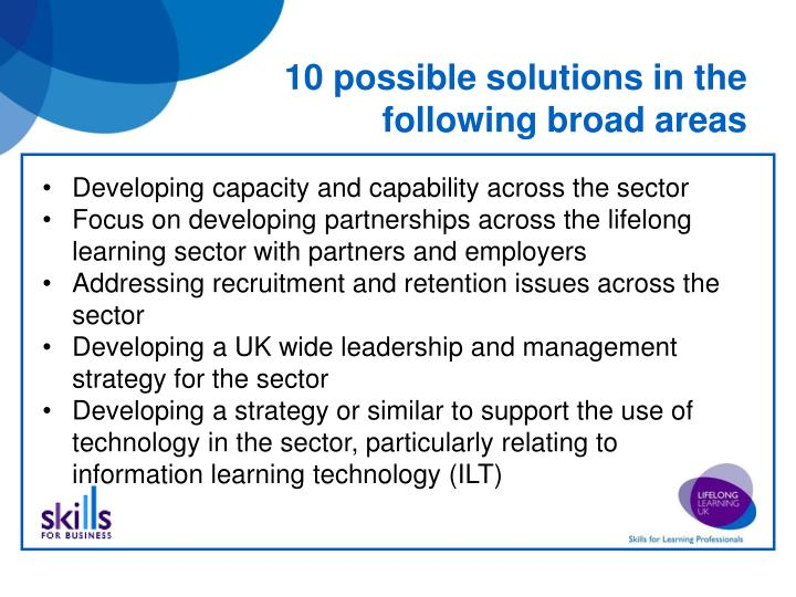 10 possible solutions in the following broad areas