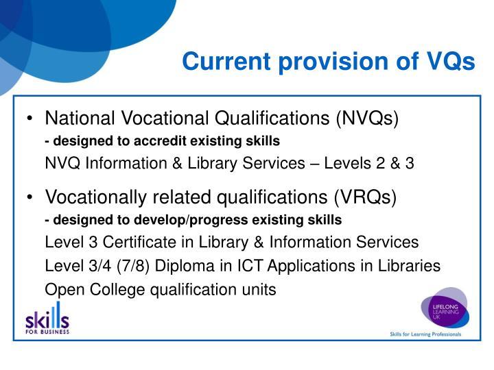 Current provision of VQs