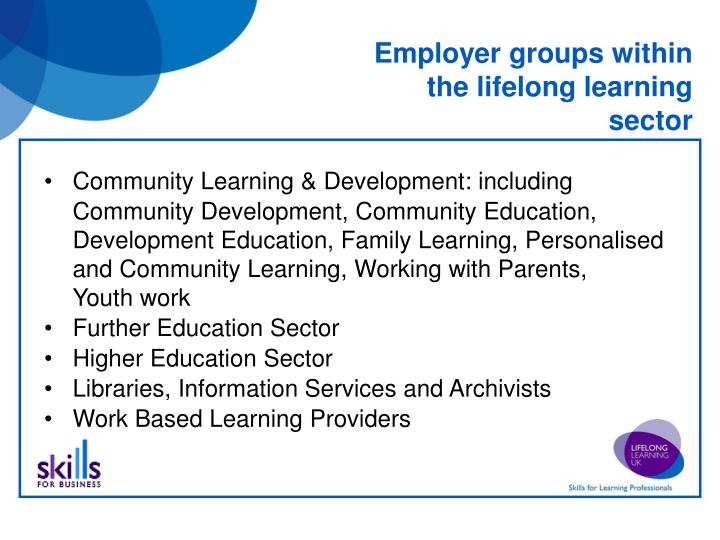 Employer groups within the lifelong learning sector