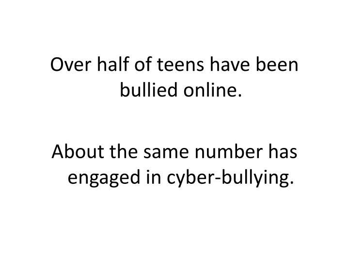 Over half of teens have been bullied online.