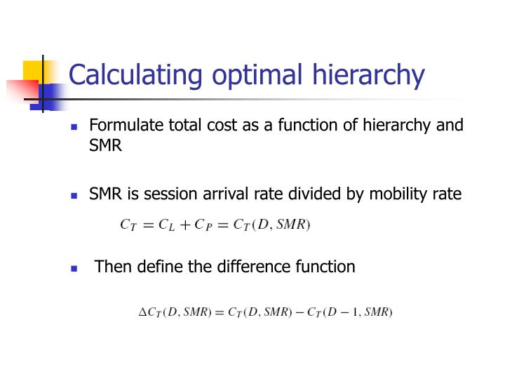 Calculating optimal hierarchy