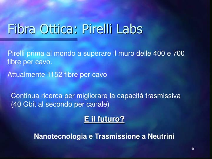 Fibra Ottica: Pirelli Labs