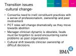 transition issues cultural change